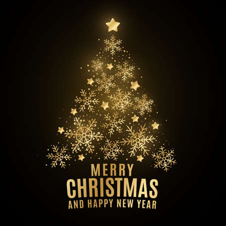 Glittering Christmas tree made of golden shining snowflakes on a black background. Elegant cover for greeting card. Happy New Year. Star decoration. Vector illustration. EPS 10