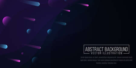 Abstract minimalistic background with falling multicolored meteorites in space on a dark background of waves. Colorful fluid shapes. Vector illustration.