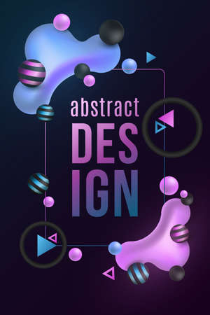 Futuristic design banner. Luminescent liquid colorful shapes on a dark background. Fluid gradient shapes concept. Glowing geometric elements. Vector illustration.