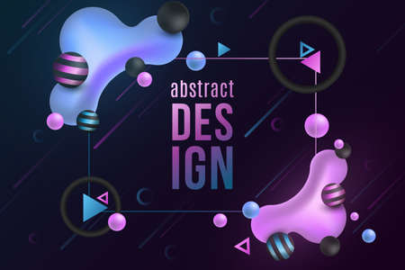 Futuristic design banner. Luminescent liquid colorful shapes on a dark background. Fluid gradient shapes concept. Meteorite effect pattern. Glowing geometric elements. Vector illustration.