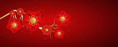 Richly decorated with gold red blooming flowers on a red background. Happy Chinese New Year. Traditional Chinese background for your festive design. Vector illustration