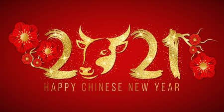 Happy Chinese New Year of the Bull 2021. Golden glittering zodiac sign with number in grunge style and blooming flowers on a red background. Vector illustration.