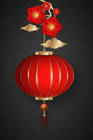 Happy Chinese New Year template. Wealthy blooming flowers and hanging lantern on a dark background with a Chinese traditional clouds. Vector illustration.