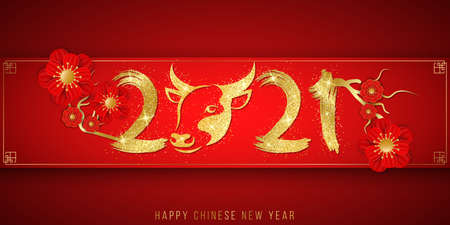 Happy Chinese New Year of the Bull 2021. Golden glittering zodiac sign with numbers in grunge style and blooming flowers on a red background. Traditional festive banner. Vector illustration.