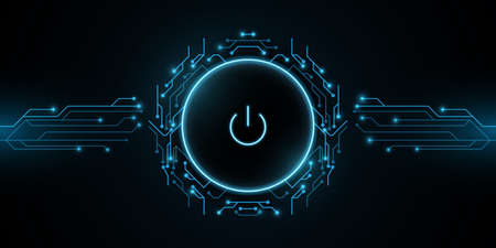 Futuristic power button with computer circuit board. HUD interface elements. UI Concept. Cyber luminescent switch. Technology modern background. Vector illustration.  イラスト・ベクター素材