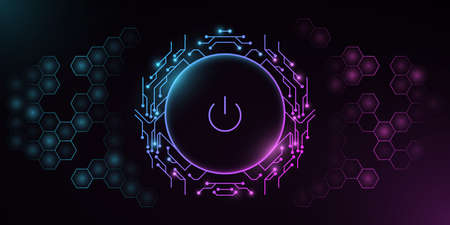 Futuristic power button with computer circuit board on a background with a pattern of hexagons. HUD interface elements. UI concept. Cyber neon switch. Vector illustration.  イラスト・ベクター素材