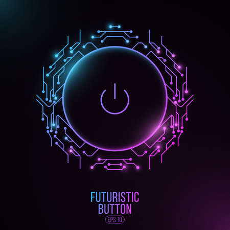Futuristic power button with computer circuit board. HUD interface elements. UI Concept. Cyber purple and blue neon switch. Technology modern background. Vector illustration.  イラスト・ベクター素材