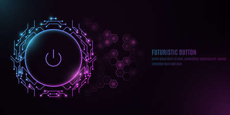 Futuristic power button with computer circuit board on a background with a pattern of hexagons. HUD interface and UI concept. Cyber neon switch. Vector illustration.