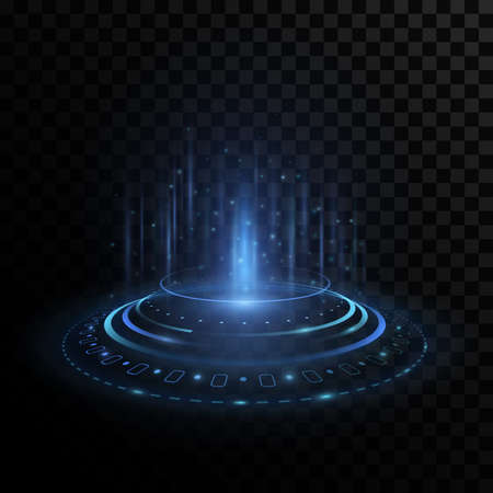 Futuristic portal hologram with HUD interface elements on transparent background. Stylish light effect. Glowing circles with highlights and flares. Modern UI design. Vector illustration.