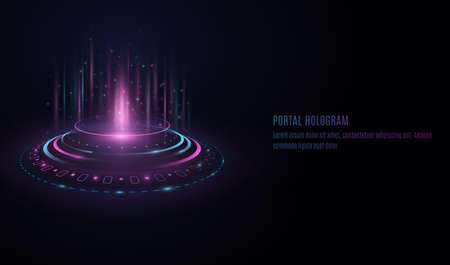 Futuristic portal hologram with HUD interface elements on transparent background. Purple and blue light effect. Glowing circles with highlights and flares. UI design. Vector illustration.  イラスト・ベクター素材
