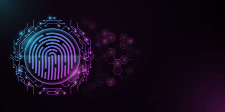 Futuristic fingerprint with circle of circuit board. Scanning user data. Glowing blue and purple HUD display. Biometric data security. Touch screen. Hexagon pattern.