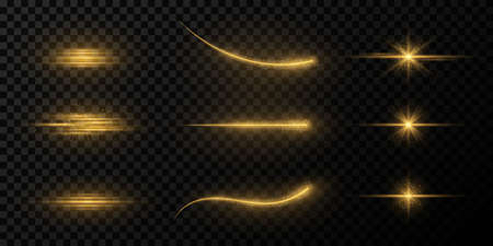 Collection of golden glare, stars and rays on a dark transparent background. Flying star effect. Elements for a night scene. Magical beams of light with glowing particles. Vector illustration.  イラスト・ベクター素材