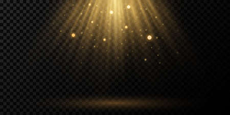 Sun light effect on a transparent background. Golden rays with flying dust and glowing particles. Soft golden sunbeams with glare. Podium light. Bright flash. Vector illustration.
