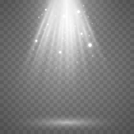 Beams of light on a transparent background. Rays with flying dust and glowing particles. Soft white sunbeams with glare. Podium light. Bright flash. Vector illustration.