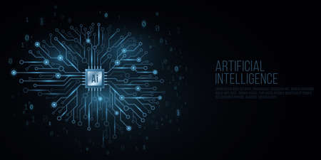 Futuristic cover for Artificial Intelligence. Cyborg technological brain. Glowing computer circuit board with a processor. Binary code. Cyber thinking. Vector illustration.