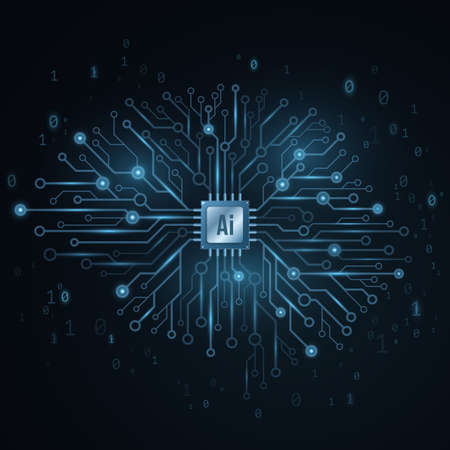Artificial intelligence concept. Cyborg technological brain. Glowing computer circuit board with a processor. Binary code. Cyber thinking. Vector illustration.