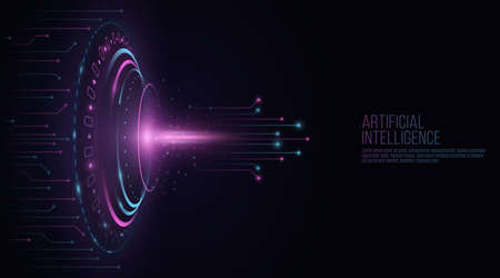 Futuristic HUD interface elements with glowing computer circuit board. Glare and flare. Artificial intelligence concept. Technology background. UI and Sci-fi design. Vector illustration.