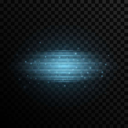 Stylish light effect on a transparent background. Modern laser effect with flying glowing particles. Blue glare and flare. Vector illustration.