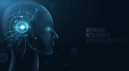 Futuristic human face model with HUD interface on his head. Artificial Intelligence. Technological progress. Neural networks. Data visualization design. Vector illustration.