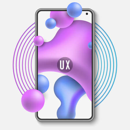 Mobile phone template. Mockup of a mobile application with liquid design. Abstract fluid shapes. UI and UX interface. Vector illustration. Ilustração