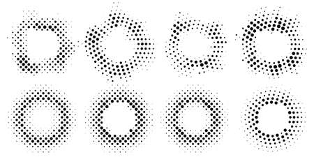 Set of abstract halftone frames. Round elements for graphic design. Retro circles from dots. Vector illustration. Ilustração