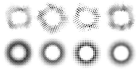 Collection of abstract halftone frames. Round elements for graphic design. Retro circles from dots. Vector illustration.