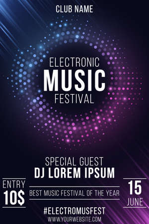 Electronic music festival. Party flyer. Stylish purple and blue glittering halftone banner. Glowing vibrant ring. Text decoration. Club and DJ name. Festive poster. Vector illustration. Ilustração