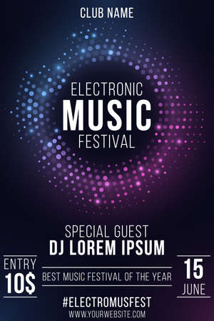 Electronic music festival. Party flyer. Stylish purple and blue glittering halftone banner. Glowing vibrant ring. Text decoration. Club and DJ name. Vector illustration.