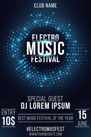 Electro music festival. Party poster. Stylish blue glittering halftone frame. Glowing vibrant ring. Text decoration. Festive banner. Club and DJ name. Vector illustration. Ilustração