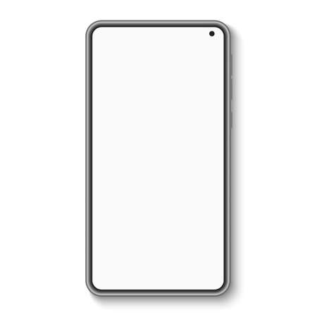 Modern smartphone with blank screen isolated on white background. UI and UX. Mobile phone. Vector illustration.