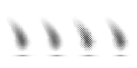 Halftone spot set on white background for graphic design. Vector illustration. Ilustração