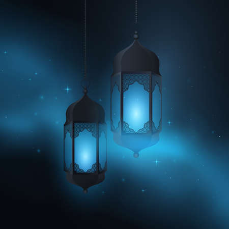 Ramadan Kareem lanterns with islamic ornament on the background of the starry sky and realistic clouds. Eid Mubarak. Vector illustration.
