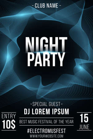 Night party poster. Stylish futuristic flyer with wavy shapes for graphic design. Abstract frame. Glowing vibrant waves. Club and DJ name. Vector illustration. Ilustração