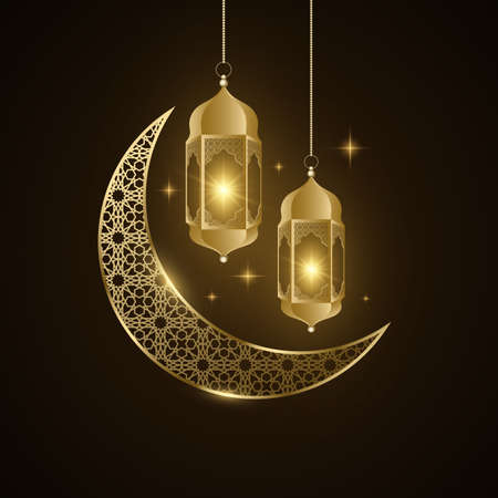Ramadan Kareem golden lantern and moon with islamic pattern glow in the night. Eid Mubarak. Holy month for fasting Muslims. Holiday religious flyer. Vector illustration. Ilustração