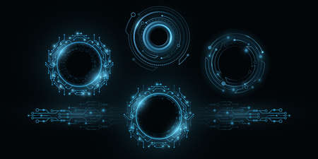 Futuristic round glowing HUD elements. Artificial intelligence frames. Virtual graphic touch user interface. Dashboard display. Sci-fi and Hi-tech design. Vector illustration. EPS 10. Ilustração