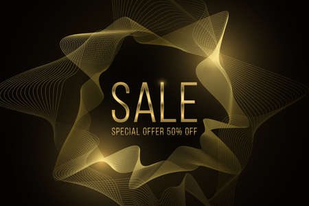 Abstract sale banner made of golden glowing wavy shapes. Special offer with big discounts. Trendy frame. Online shopping page design. Vector illustration. EPS 10.