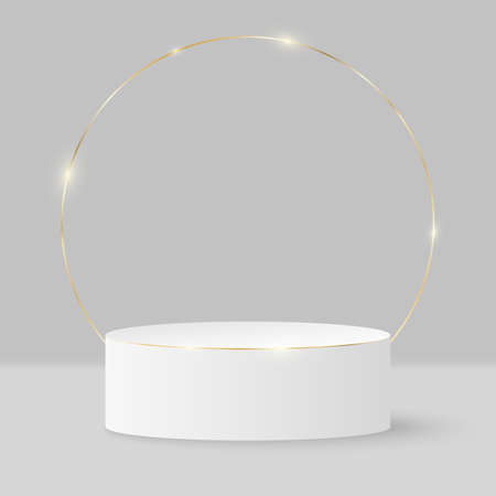 Minimalistic elegant stage for show your products. 3d cylinder on a light background. Platform or podium with golden ring. Mock up for fashion presentation. Vector illustration.
