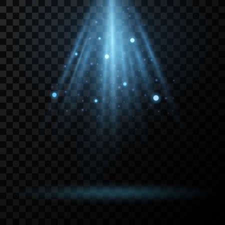 Abstract blue light effect with glitter on a transparent background. Rays with glowing particles. Glare and flare. Bright flash. Vector illustration. EPS 10.