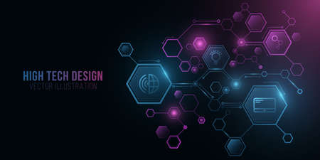 Futuristic diagram from glowing hexagons frame with tech icons. Artificial Intelligence concept. Neural networks. Digital technology. Big data. Sci-fi presentation. UI design. Vector. EPS 10. Ilustração