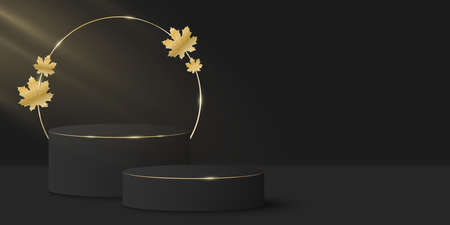Stylish minimal scene and gold circle with golden autumn leaf. Mock up to display your cosmetic product. 3D vector stage or podium. Light beam effect. Seasonal background. EPS 10.