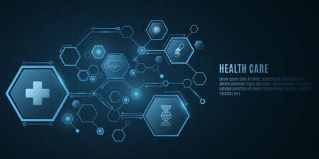 Digital medical science concept. Blue hexagon pattern with health care icons. Design for your ad, presentation, banner, template. Sci-fi futuristic background. Vector illustration. EPS 10.