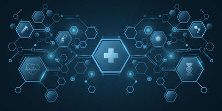 Medical science concept. Blue hexagon pattern with health care icons. Design for your ad, presentation, banner, template. Sci-fi futuristic background. Vector illustration. EPS 10.