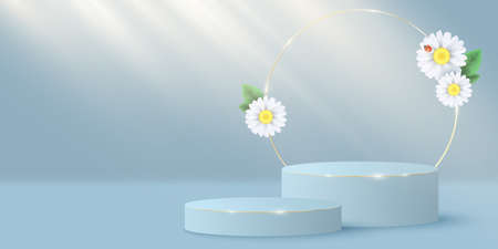 Stylish minimal scene and gold circle with plumeria flowers to display your cosmetic product. 3D vector stage or podium. Light beam effect. Seasonal summer mock up. EPS 10.