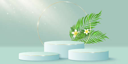 Exotic stylish pedestal and golden circle with plumeria flower and palm leaf to display your cosmetic product. 3D vector stage or podium. Light beam effect. Tropical mock up for summer sale. EPS 10. Ilustração