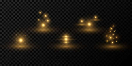 Set of abstract light effects on a dark transparent background. Sparkling magical spheres with flare. Glittering elements for christmas, new year, night scenes. Vector illustration. EPS 10. Ilustração