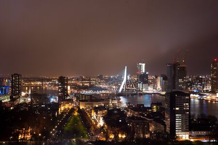 euromast: View of Rotterdam city, with Erasmus Bridge from the top of Euromast