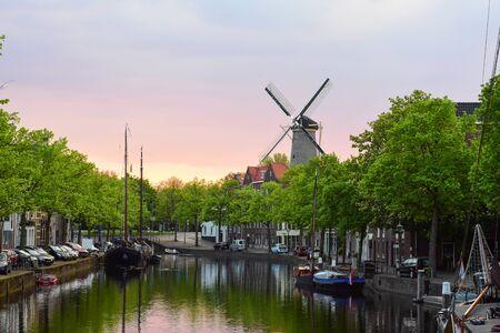 Scenic sunset view of the city center of Schiedam, Netherlands