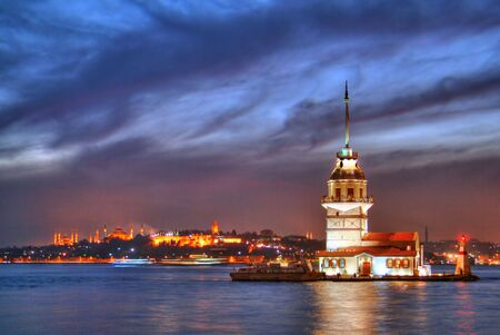 turkey istanbul: Maidens Tower at night Stock Photo