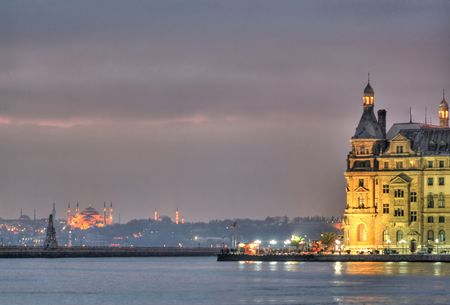 Haydarpasa with Hagiasophia at the background Stock Photo - 1260886