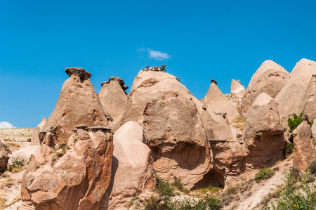 Close up fairy chimneys from Cappadocia. Impressive fairy chimneys of sandstone in the canyon near Cavusin village, Cappadocia, Nevsehir Province in the Central Anatolia Region of Turkey.